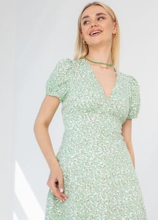 Платье в цветочный принт мята