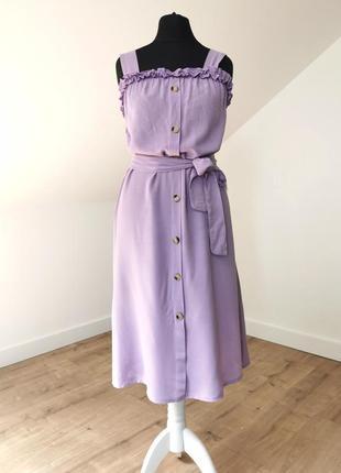 Лавандовое миди платье сарафан хлопок