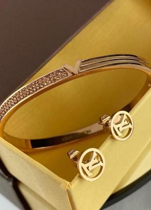 Стильный набор браслет с серьгами
