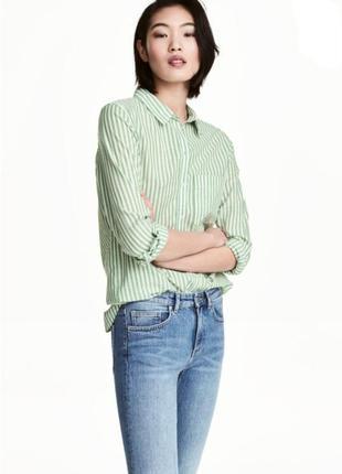 Базовая хлопковая рубашка блузка  кофточка классика прямая белая зелёный полоска котон h&m bershka primark next zara hilfiger