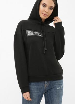 Черный чёрный свитшот с капюшоном с принтом теплый тёплый кофта світшот