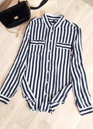 Базовая рубашка классика блузка кофточка прямая полоска белый синий натуральная zara h&m bershka levi's hilfiger primark next