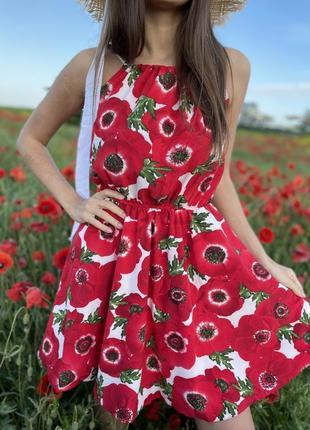 Сарафан платье белое красное маки