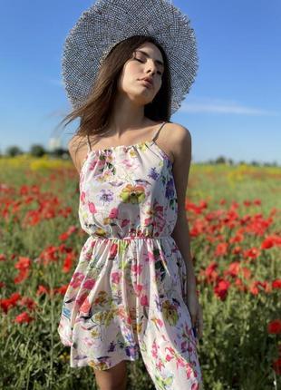 Платье сарафан белое цветы