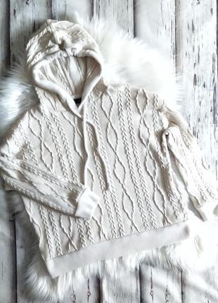 Худи с аранами в вязаном стиле