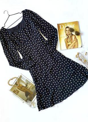 Платье черное макси в цветочный принт винтаж