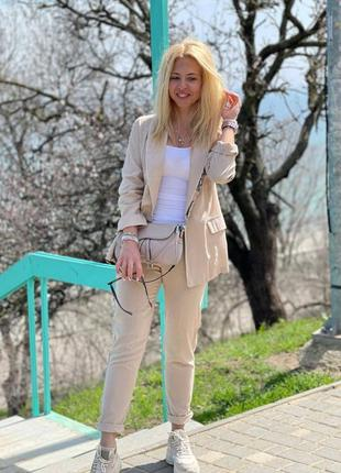 Стильный костюм двойка:брюки+пиджак бежевый лён