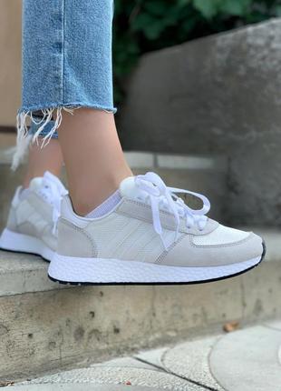 Женские кроссовки adidas marathon white/grey, белые/серые5 фото