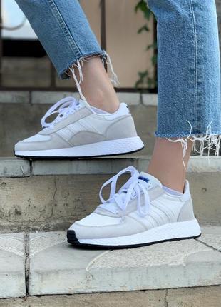 Женские кроссовки adidas marathon white/grey, белые/серые2 фото