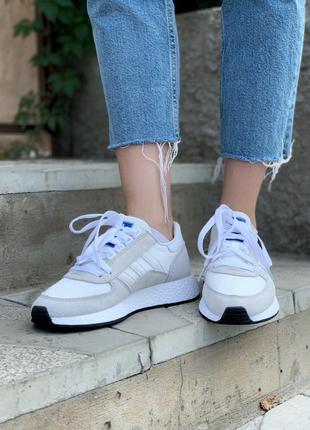 Женские кроссовки adidas marathon white/grey, белые/серые7 фото