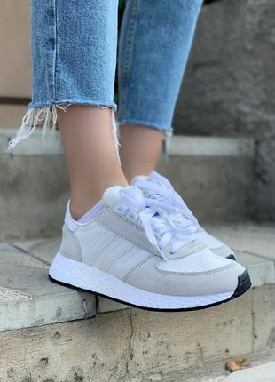 Женские кроссовки adidas marathon white/grey, белые/серые3 фото