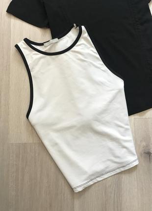 Базовий білий кроп топ майка футболка зара zara / топик по фигуре с окантовкой каёмкой белый