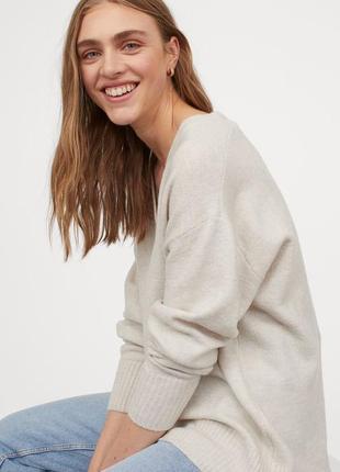Широкий вязаный джемпер пуловер с шерстью