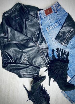 Кожаная куртка косуха натуральная кожа в стиле zara