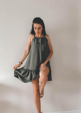 Платье с воланами американский креп ( жатка )