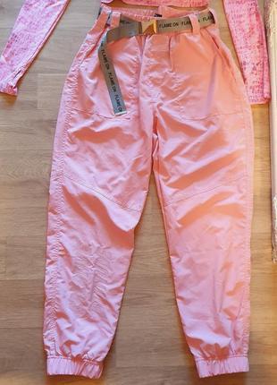 Джогеры карго штаны летние с поясом тонкие bershka