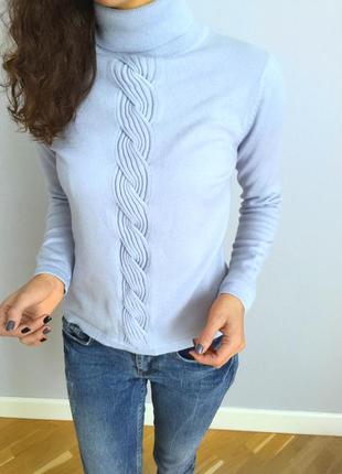Шикарный свитер из шерсти мериноса небесного цвета viyella