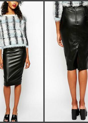 Актуальная юбка под кожу с карманами   (uk 12/eur 38-40 см.замеры)