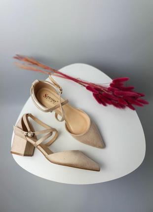Туфли босоножки лодочки бежевые женские на маленьком каблуке