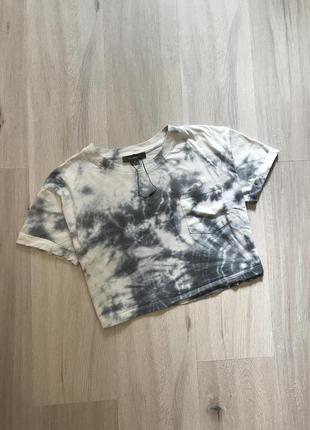 Топ майка футболка мармуровий принт тай дай / кроп топик в принт tie dye мраморный укорочений с карманом