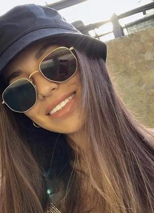 Стильные солнцезащитные очки унисекс шестигранные в стиле ray ban hexagonal