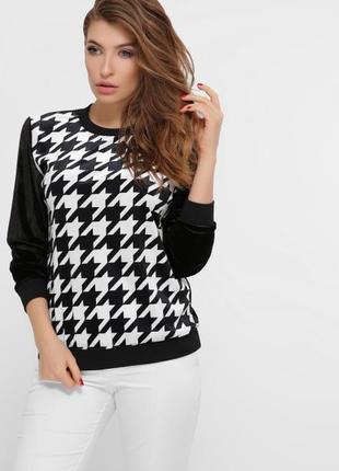 Чорно-белый черный и белый свитшот с капюшоном с принтом теплый тёплый кофта світшот2 фото