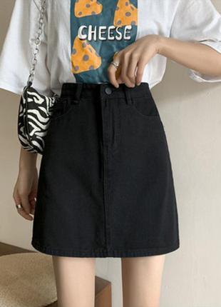 Модная черная юбка 5002