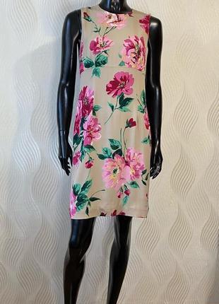 Шелковое платье сарафан с цветочным принтом dolce & gabbana