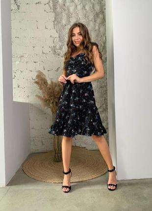 Платье в цветок сарафан 3 цвета6 фото