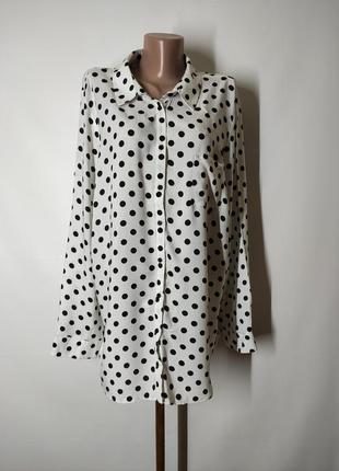 Натуральная базовая рубашка прямого кроя в горошек горох из вискозы new look