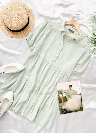 Мятное платье свободного кроя