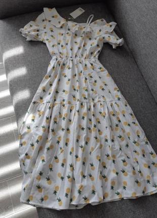 Платье- миди с принтом ананасы