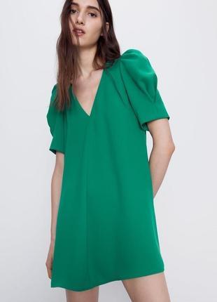 Стильное зелёное платье zara 2020