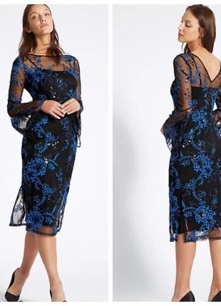 Супер красивое праздничное платье миди с вышивкой и паетками marks&spencer