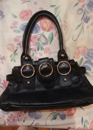 Чёрная кожаная сумка натуральная кожа tommy & kate