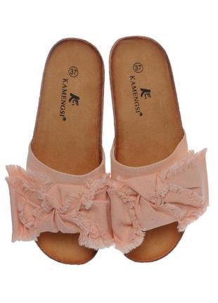 Стильные женские комфортные джинсовые розовые пудровые шлепанцы с бантом