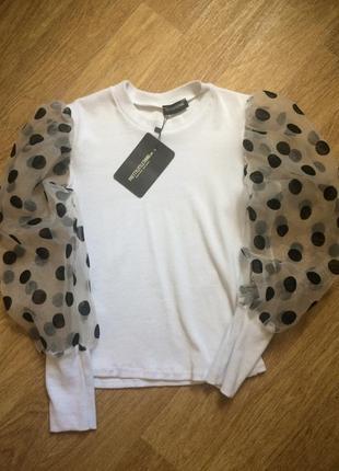 Шикарная блузка,рукава из органзы