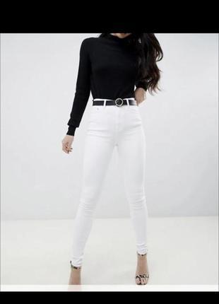 Белые базовые джинсы скинни asos с завышенной талией, высокая талия