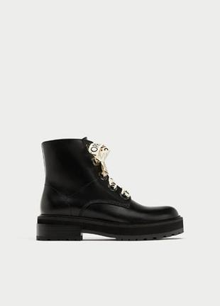 Новые кожаные ботинки zara