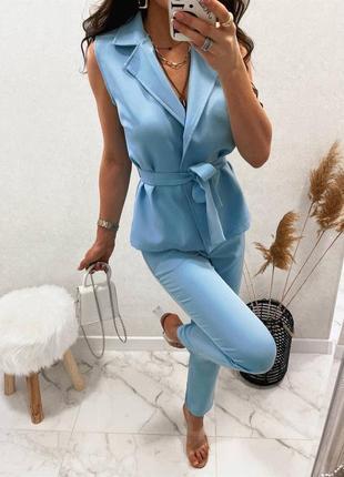 Стильный костюм (жилетка + брюки) голубой