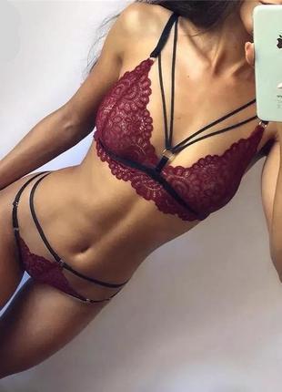 Новый сексуальный бандажный кружевной набор нижнего белья красный черный