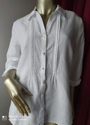 🐭🐭🐭🐭🐭белоснежная нарядная натуральная  льяная блуза рубаха charles voegele