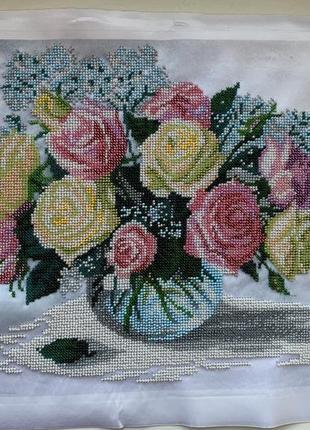 Картина вишита бисером, цветы, картина вишита бісером.