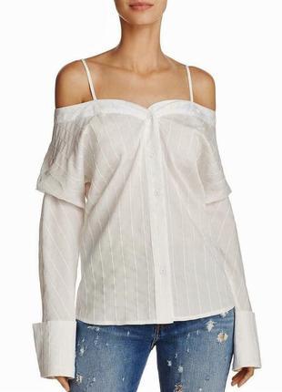 Белая рубашка блуза  с оголенными плечами на бретелях с длинными рукавами s