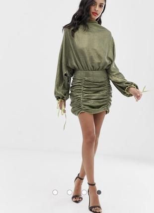 Свободное платье мини со сплошной отделкой пайетками asos design