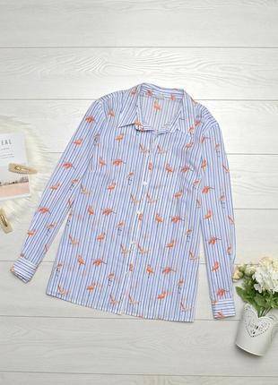 Красива котонова рубашка з фламінго.
