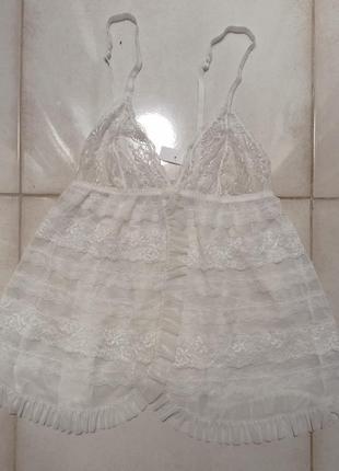 Нежная пелерина пенюар белый свадебный