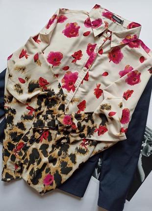 Блуза в анімалістичний і квітковий принт від boohoo