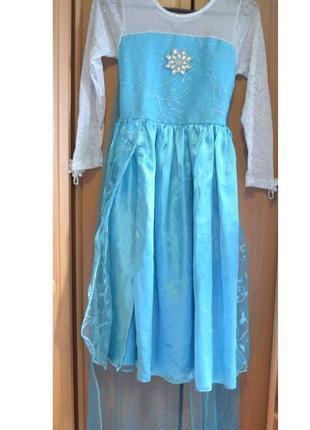 Карнавальный костюм эльза на 9-10 лет, платье эльза