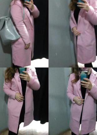 Zara пальто бойфренд розовое